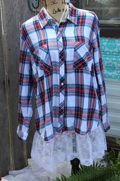 Blue and white bleached flannel XL oUX8xisR3