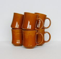 Vintage Coffee Mugs Toffee Brown Libertyware Instant Collection Set of 6 Restaurant Ware Cups