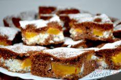 Propadávané tvarohové řezy s broskvemi | NejRecept.cz 20 Min, Finger Foods, Sweet Tooth, Cereal, French Toast, Muffins, Cheesecake, Sweets, Lunch