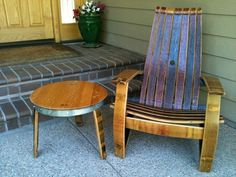 I want these!!!!!!!  WINE BARREL PRODUCTS, PATIO, FURNITURE, ADIRONDACK, CHAIR