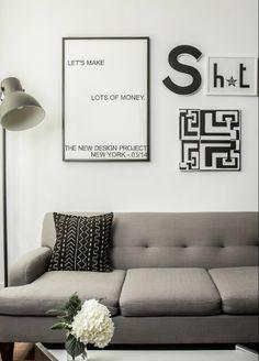 Custom artwork by TNDP, second hand tufted sofa, Hektar lamp (IKEA), mud cloth cushion