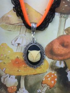 Neon Lace Choker Owl Bright Orange Punk Chic by StarvingArtists, $9.99