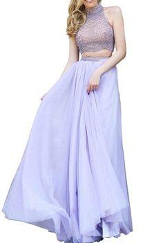 Lovelybride Charming Halter 2 St¨¹ck Perlen T¨¹ll Abendkleid lange…
