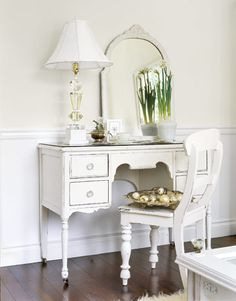White Home Décor - have the desk and mirror and chair - put them together - paint white - Country Living