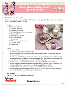 Here are some recipes from Minnie and Daisy for your next tea party! SC- a bit hard for me to read; I'll have to get out the magnifying glass! My granddaughter would love this idea! Disney Themed Food, Disney Inspired Food, Disney Food, Retro Recipes, Old Recipes, Vintage Recipes, Cooking Recipes, Disney Dishes, Disney Desserts