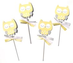 Items similar to Yellow and Grey Woodland Owl Animal Themed Party Centerpiece Sticks Set of 4 - Birthday Party or Baby Shower on Etsy Owl Party Decorations, Party Centerpieces, Party Themes, Owl Parties, 4th Birthday Parties, Birthday Wishes, Owl Animal, Owl Pet, Baby Owls