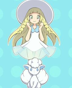 alolan form alolan vulpix blonde hair blue background blush braid dress female full body green eyes hands up happy hat highres konbudou lillie (pokemon) long hair looking at viewer pokemon pokemon (anime) pokemon (creature) pokemon (game) pokemon sm Pokemon Tv Show, All Pokemon Games, Pokemon W, Pokemon Moon, Pokemon People, Nintendo Pokemon, Pokemon Stuff, Pokemon Mallow, Cartoon Cupcakes