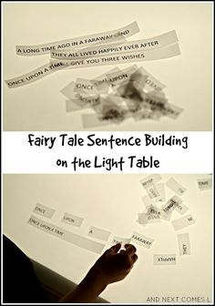 Fairy tale sentence building light table activity for kids with free printable Teaching Writing, Writing Activities, Writing Skills, Educational Activities For Kids, Preschool Science, Learning The Alphabet, Fun Learning, Early Learning, Storytelling Techniques