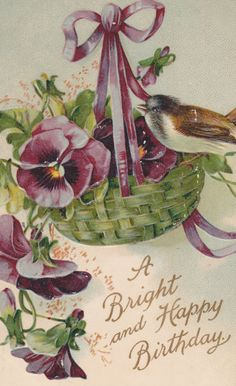 HAPPY BIRTHDAY Vintage Postcard, PANSIES, Pansy, Basket, Bird, Gilded and Embossed, Used and Stamped, 1910s, International Art by AgnesOfBohemia, $3.15
