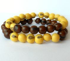 Set of Two Acai Seed Bracelet in Dark by theblackstarboutique, $25.00