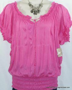a49b7ab5402 Derek Heart Plus Top Size 3X Peasant Blouse Pink Crinkle Short Sleeve NEW  NWT Big Girl