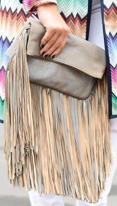 long fringe clutch