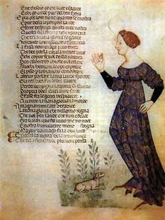 "Illumination of a standing woman from ""Acerba"", didactic-allegorical poem in Italian, by Cecco d'Ascoli , 1380s"