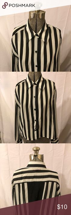 Closeout! Material Girl Striped Top Beetlejuice Size Medium Material Girl Synthetic Top. Loose fit. Material Girl Tops Blouses