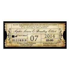 Vintage Wedding Ticket Invitations