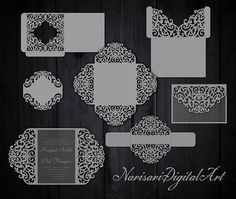 Big Set Cricut Wedding Invitation Template Gate Fold Card / Envelope Frame / Bellyband. SVG, DXF cutting files, Silhouette Cameo, Laser cut