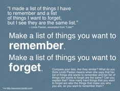 Make a list of things you want to remember-- writing prompt