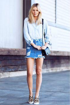 @Alexandra M What Wear+-+9+Foolproof+Warm-Weather+Outfit+Formulas+To+Copy+Now Jeanskjol skjorta Vans