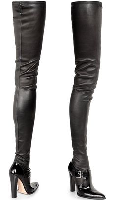 Altuzarra Stretch Leather Thigh-High Boots in Black