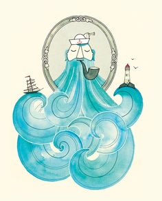 Deanna Halsall Illustration. A sailor, a ship, the ocean, a lighthouse and his beard. Such majesty in those waves. <3