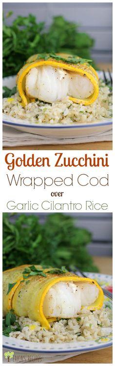 Golden Zucchini Wrapped Cod over Garlic Cilantro Rice from EricasRecipes.com