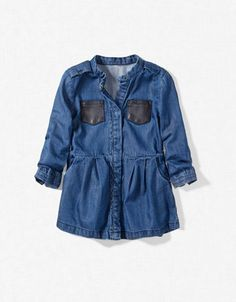 Girls Denim Dress with Leather Pockets / Zara