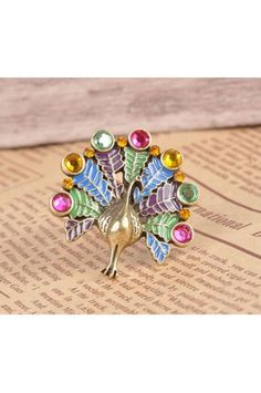 $5.99 Vintage Rhinestone Peacock Animal Ring....my friend Kim would like this!