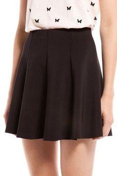 $18.99 Stylish Pure Color Pleated Skater Skirt @ MayKool.com (Light Blue)