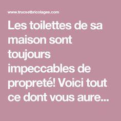 Les Toilettes De Sa Maison Sont Toujours Impeccables De Propreté! Voici  Tout Ce Dont Vous Aurez Besoin!   Trucs Et Bricolages