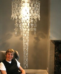 This chandelier is made from recycled plastic bottles. Wow! #DIY