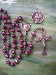 Beautiful Vintage Rosary, Fluted Sterling Beads