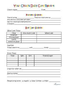 This free printable toddler day care report form is used by day care providers to monitor children's daily activities and progress.