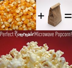 Perfect homemade microwave popcorn with just popcorn and a paper bag! No chemicals needed