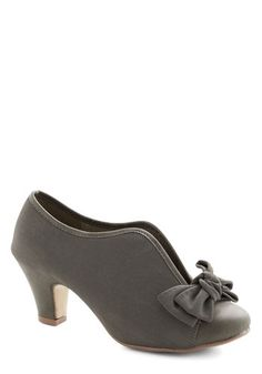 Bow Other Way Bootie in Grey - Mid, Faux Leather, Grey, Solid, Bows, Party, Good, Variation