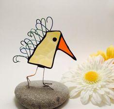 Yellow Scrappy Bird Stained Glass Bird