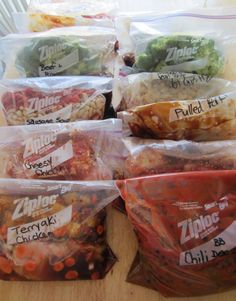 prep a bunch of slow cooker-ready meals for the freezer! stick em in the crock pot on a rainy day!