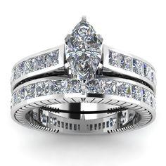4 Ct Marquise Shape Diamond Wedding Ring Set 14K SI EGL - Holy Gorgeous!