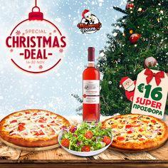 Απολαύστε 2 Οικογενειακές πίτσες επιλογής🍕 + 1 Μικρή σαλάτα επιλογής🥗+ 1 μπουκάλι κρασί🍾 Calliga ροζέ Μελισσόμαντρα 750ml ή 1 Calliga λευκό Μοσχοφίλερο Μαντινεία 750ml. Μόνο με 16€‼️ Βάλτε γεύση στα γιορτινά σας βράδια!!!🎅 Pizza Special, Christmas Deals, Food, Essen, Meals, Yemek, Eten