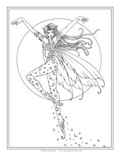 Free Mermaid Coloring Page by Molly Harrison Fantasy Art Amethyst
