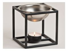 Duftlampe kvadrat/sølvmetal 10x10x10 cm www.mellowway.dk