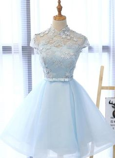 Custom Made Comfortable Lace Prom Dresses, Short Prom Dresses, Cute Prom Dresses, Prom Dresses Blue Light Blue Homecoming Dresses, Homecoming Dresses For Sale, Blue Lace Prom Dress, Cute Prom Dresses, Light Blue Quinceanera Dresses, Light Blue Formal Dresses, Dress Lace, Sweet 16 Dresses Blue, Pretty Dresses For Kids
