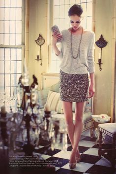 one of my favourite new outfits, sweater with sequined skirts