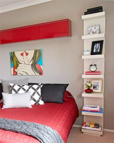 Space saving bedroom ideas. Love the shelf instead of night stand.
