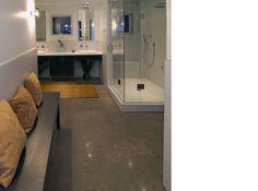 Polished Concrete Floors Large Bathroom Arragement Interior
