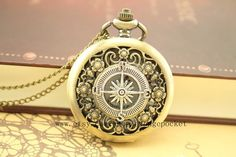 antique compass pocket watch jewelry men's by evangepocket on Etsy, $3.32