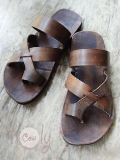 Beautiful Handmade Brown Leather Sandals by HolyCowproducts