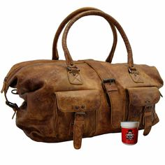 Weekender ERIKSSON of brown leather of the Collection BARON of MALTZAHN® - Order here our exclusive leather goods with a robust look! Leather Handle, Leather Bag, Brown Leather, Weekender, Work Bags, Travel Bags, Gym Bag, Shoulder Strap, Fashion Shoes