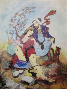 Miniature art - Persian miniature painting - The madman and Layla [3]