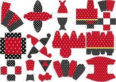 Rojo, Negro y Lunares Blancos: Cajas para Imprimir Gratis.   Ideas y material gratis para fiestas y celebraciones Oh My Fiesta!