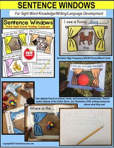 Creative reading and writing activity with DOLCH PRE-PRIMER words and 84 NOUNS!